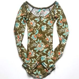 Free People Green Floral Henley Thermal